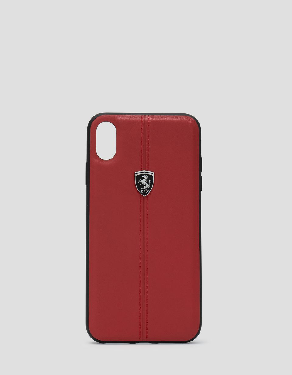 Scuderia Ferrari Online Store - Red leather hard case for iPhone XS Max - Smartphone Accessories