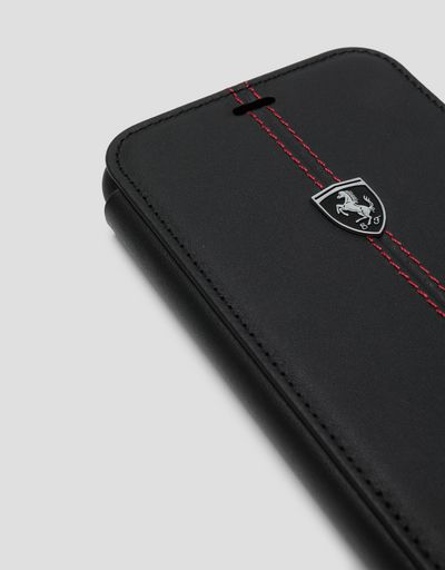 Scuderia Ferrari Online Store - Black leather flip case for iPhone XS Max - Smartphone Accessories