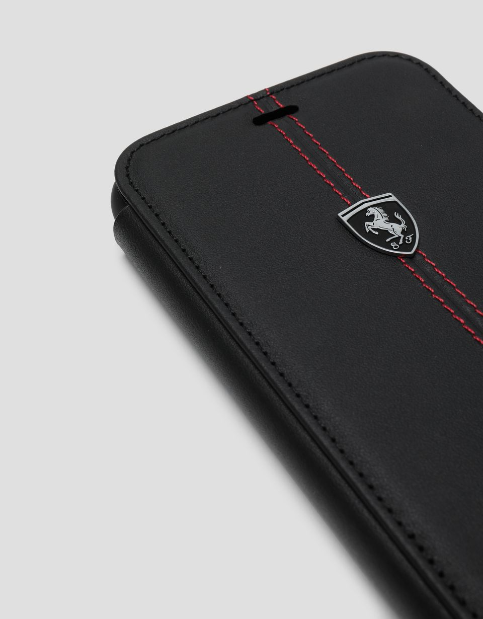 Scuderia Ferrari Online Store - Black leather wallet case for the iPhone XS Max - Smartphone Accessories