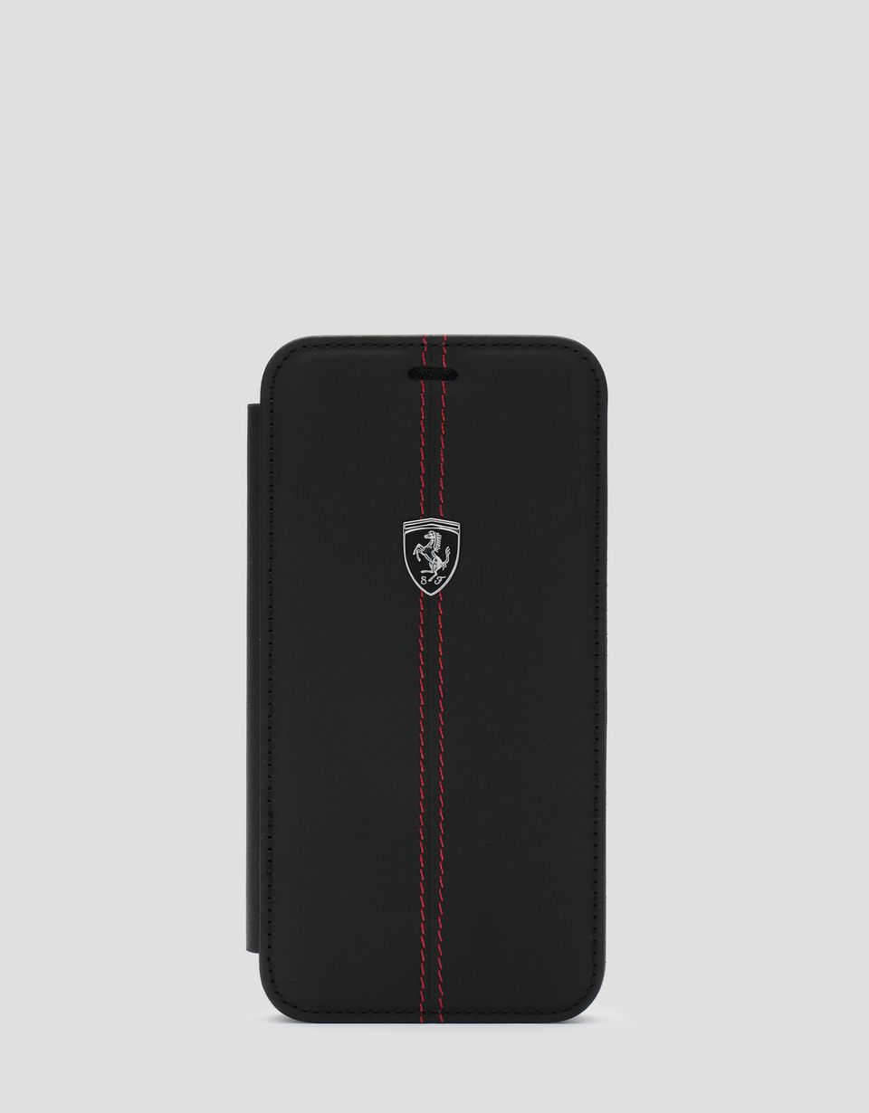 Scuderia Ferrari Online Store - Black leather wallet case for the iPhone XS Max -