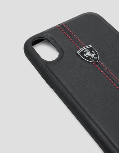 Scuderia Ferrari Online Store - Black rigid leather case for the iPhone X and XS - Smartphone Accessories