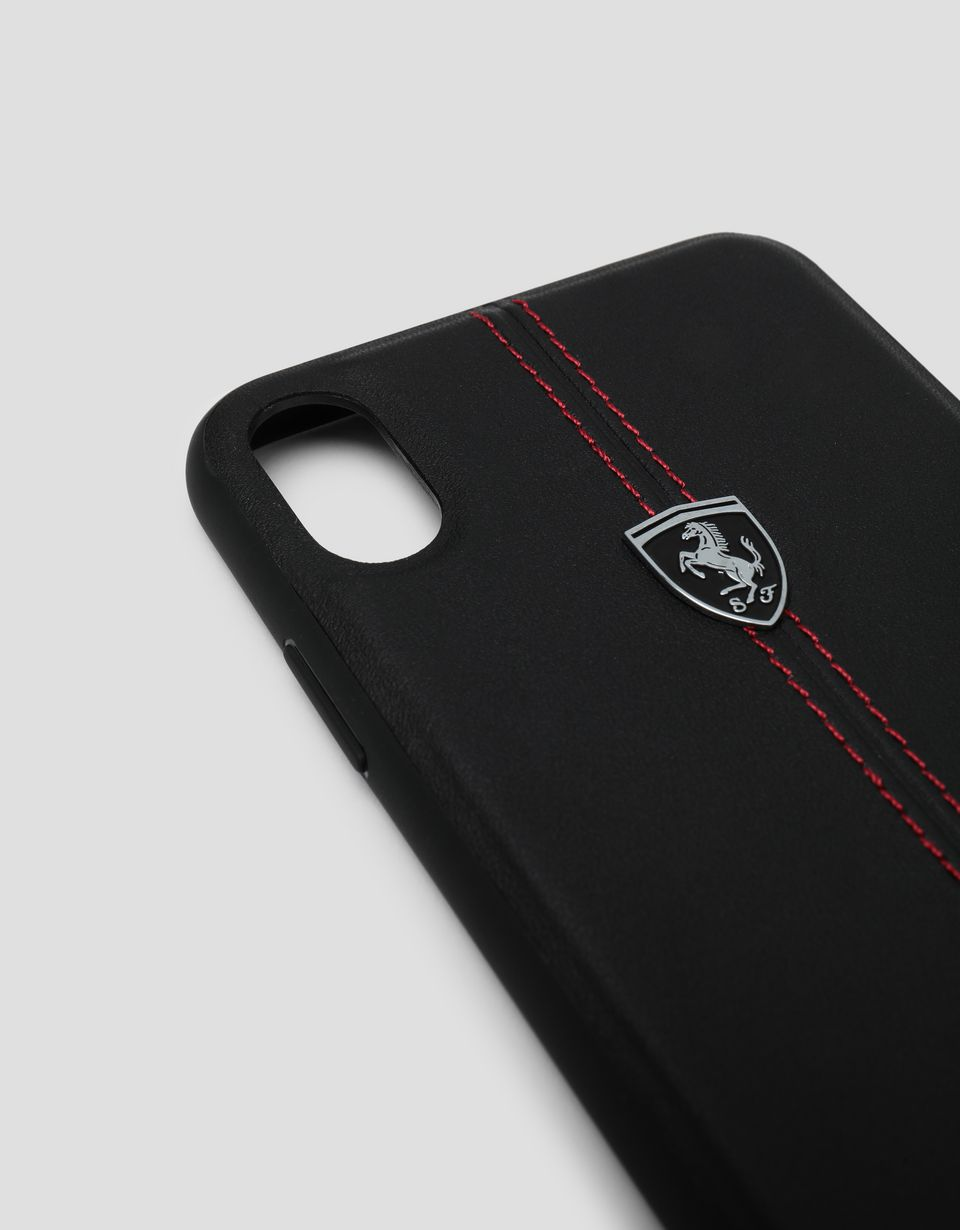 Scuderia Ferrari Online Store - Black rigid leather case for the iPhone XS Max - Smartphone Accessories