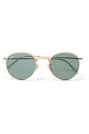 Round Frame Gold Tone Sunglasses by Ray Ban
