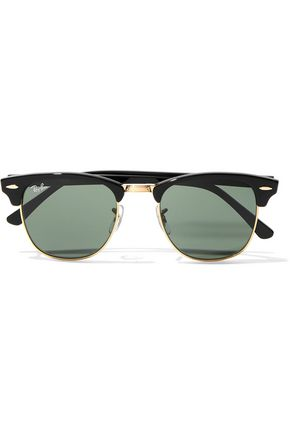 RAY-BAN Clubmaster tortoiseshell acetate and gold-tone mirrored sunglasses