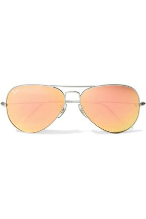 RAY-BAN Aviator-style silver-tone and acetate mirrored sunglasses
