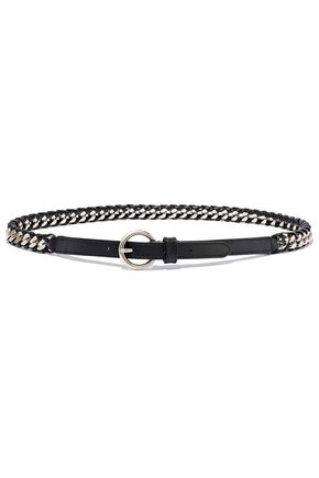 SANDRO Circée chain and woven leather belt