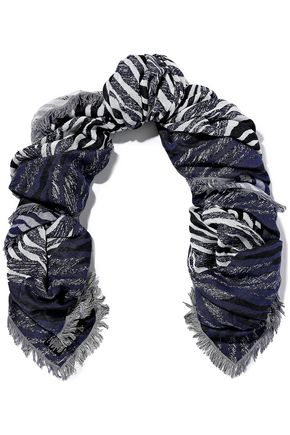 SANDRO Fringed cotton-blend jacquard scarf