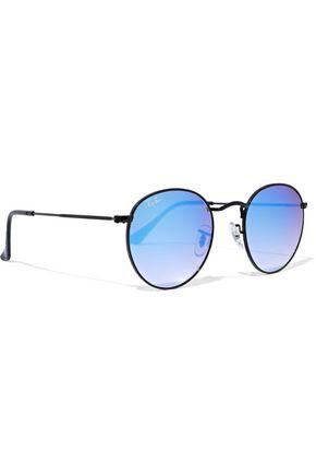 RAY-BAN Round-frame metal mirrored sunglasses