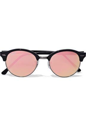 RAY-BAN Clubmaster acetate and gunmetal-tone mirrored sunglasses