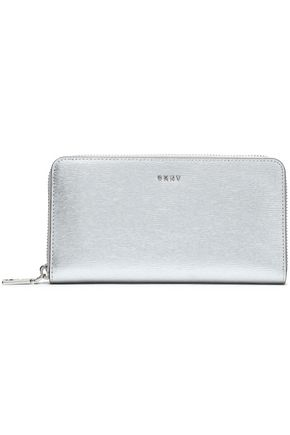 DKNY Metallic textured-leather wallet