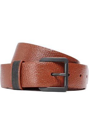 BRUNELLO CUCINELLI Bead-embellished textured-leather belt