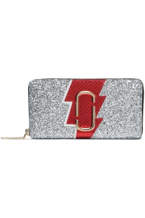 MARC JACOBS Glittered, textured and snake-effect leather wallet