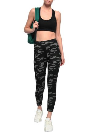 MONROW Printed stretch-jersey leggings