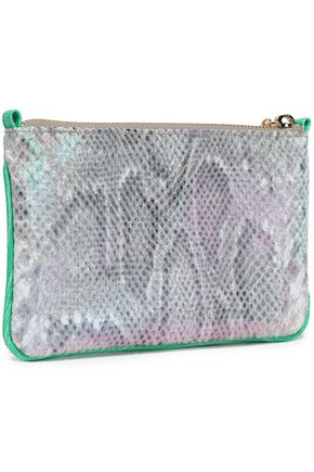 STELLA McCARTNEY Snake-print brushed faux leather pouch