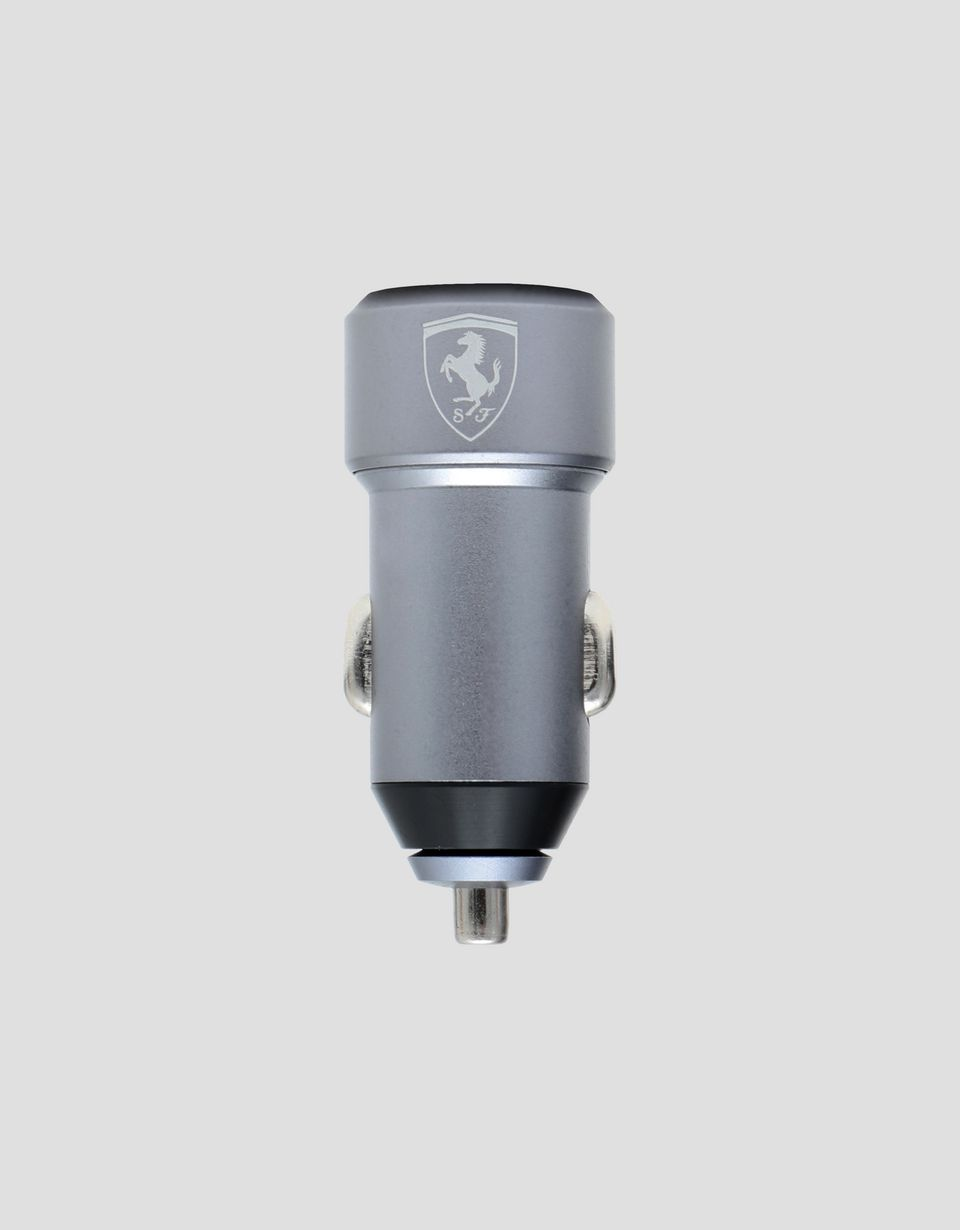 Scuderia Ferrari Online Store - Silver car charger with two USB ports - Other Tech