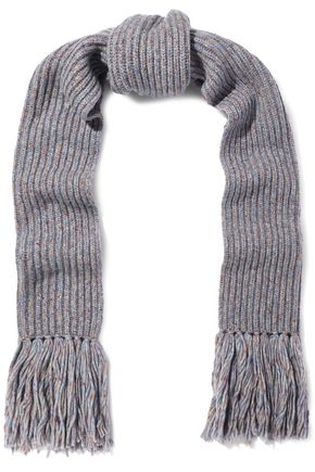RAG & BONE Devin fringed marled ribbed wool-blend scarf