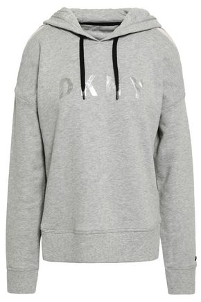 DKNY Embroidered cotton-blend French terry hooded sweatshirt