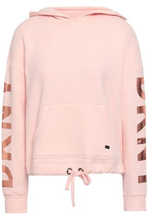 DKNY Printed cotton-blend fleece hooded sweatshirt