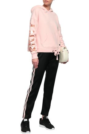 DKNY Printed cotton-blend fleece hooded sweatshirt