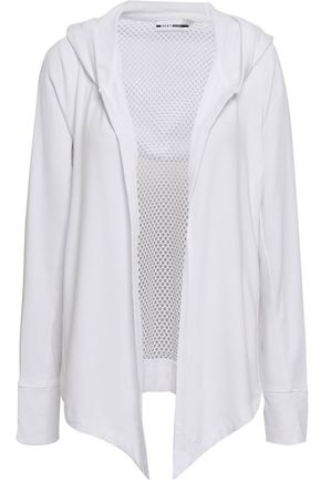 DKNY Mesh-paneled jersey hooded jacket