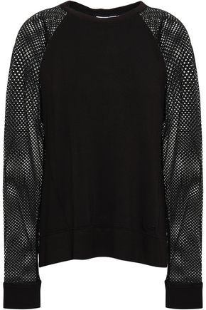 DKNY Mélange paneled stretch-mesh and French terry top