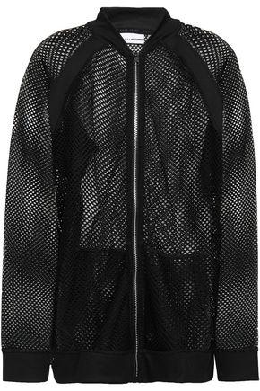 DKNY Stretch knit-trimmed mesh jacket