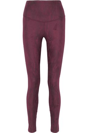 YUMMIE by HEATHER THOMSON Signature snake-print faux stretch-suede leggings