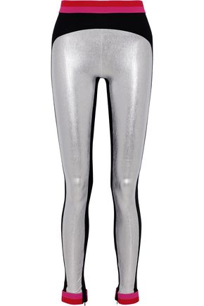 NO KA 'OI Wawa metallic color-block stretch leggings