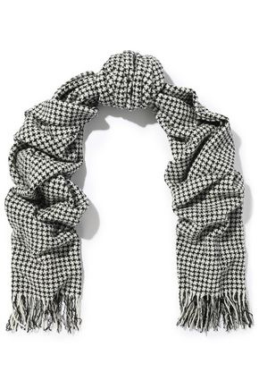 RAG & BONE Fringed houndstooth wool-blend scarf