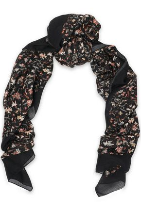 IRO Floral-print cashmere scarf