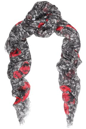 IRO Frayed printed modal and silk-blend scarf