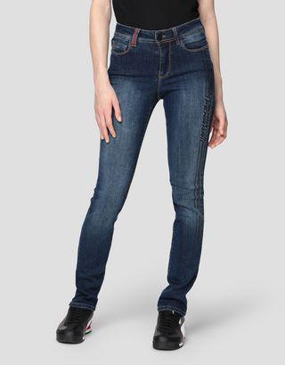 Scuderia Ferrari Online Store - 5-Pocket-Jeans mit Super Skinny-Passform und Print - 5-Pocket-Hosen