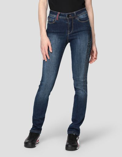 Women's super skinny printed five-pocket jeans