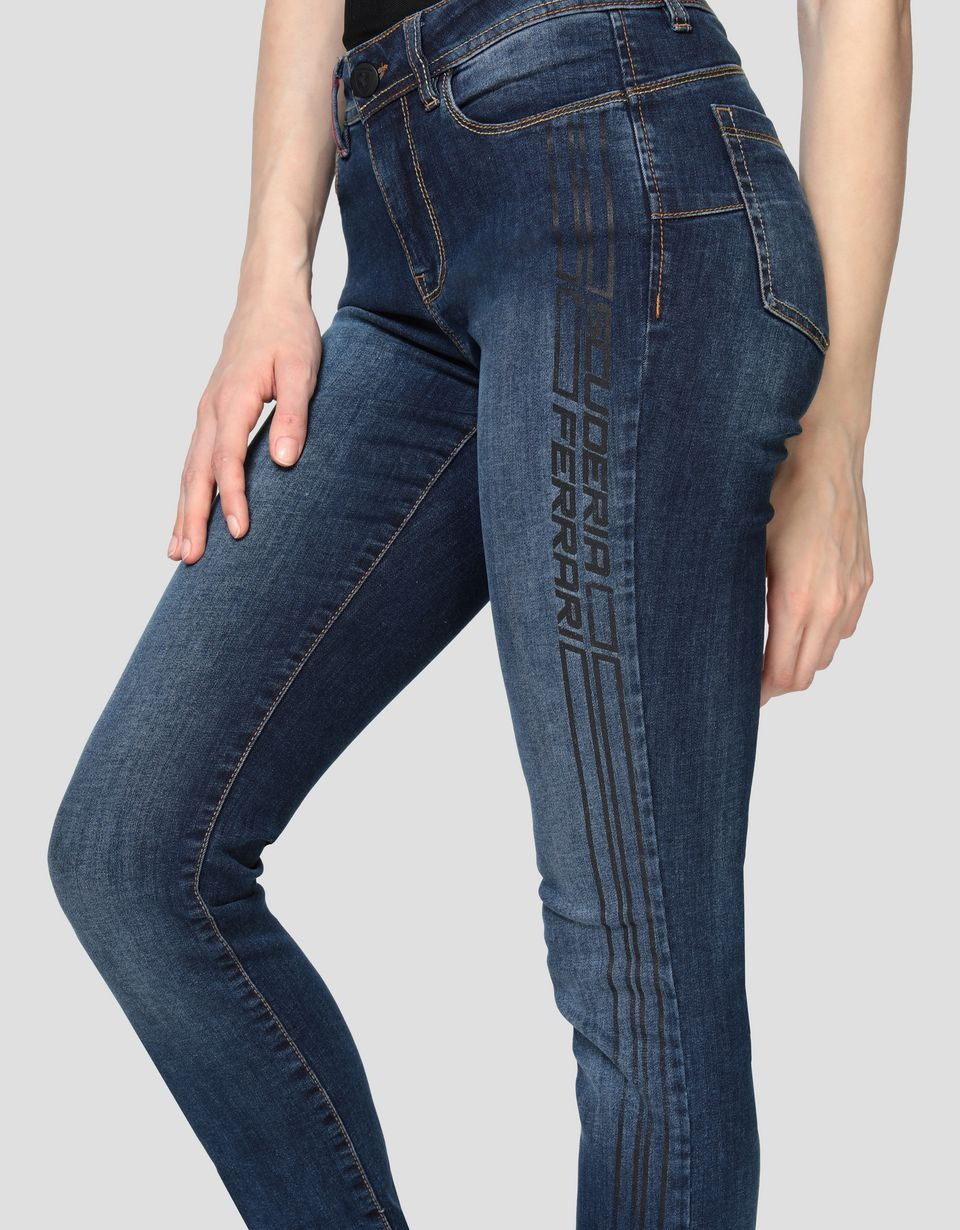 Scuderia Ferrari Online Store - Women's five-pocket super skinny jeans with print -