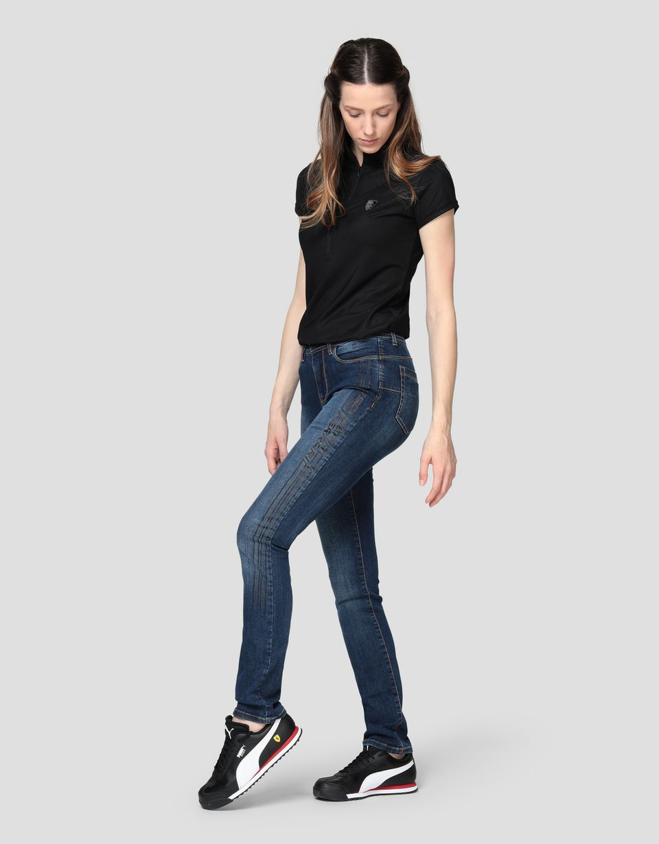 Scuderia Ferrari Online Store - Women's five-pocket super skinny jeans with print - 5-pocket trousers