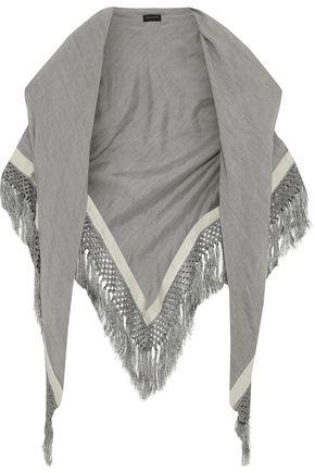 RAG & BONE Tassel-trimmed striped silk and wool-blend wrap