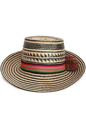 YOSUZI Kalinda pompom-embellished straw sunhat
