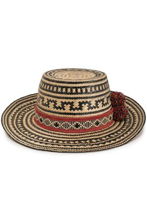 YOSUZI Karok pompom-embellished straw Panama hat