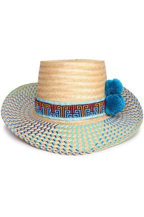 YOSUZI Bead and pompom-embellished woven straw sunhat