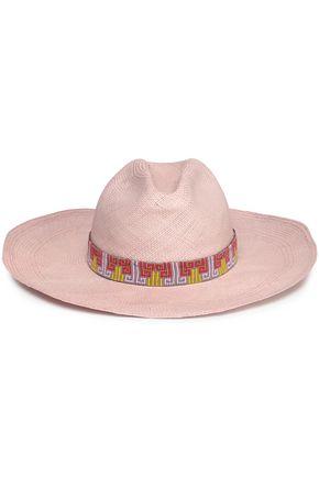 YOSUZI Bead-embellished woven straw hat