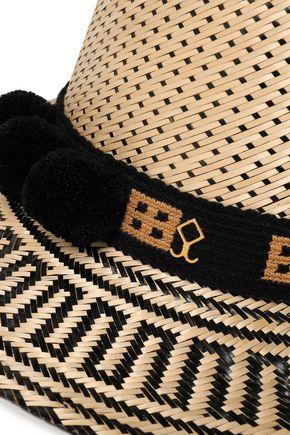 YOSUZI Pompom-embellished woven straw sunhat