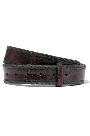 BRUNELLO CUCINELLI Bead-embellished cracked patent-leather belt