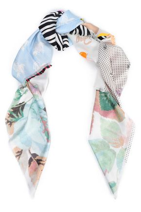 LOEWE Fringed patchwork-effect silk-twill scarf