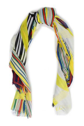 LOEWE Striped wool-gauze scarf