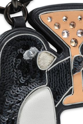 COACH Embellished sequined leather keychain