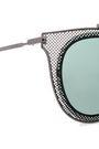 VALENTINO Aviator-style laser-cut gunmetal tone sunglasses