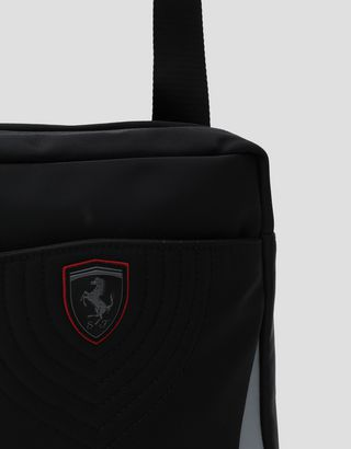 Scuderia Ferrari Online Store - Men's shoulder bag in technical fabric with embroidery - Messenger Bags
