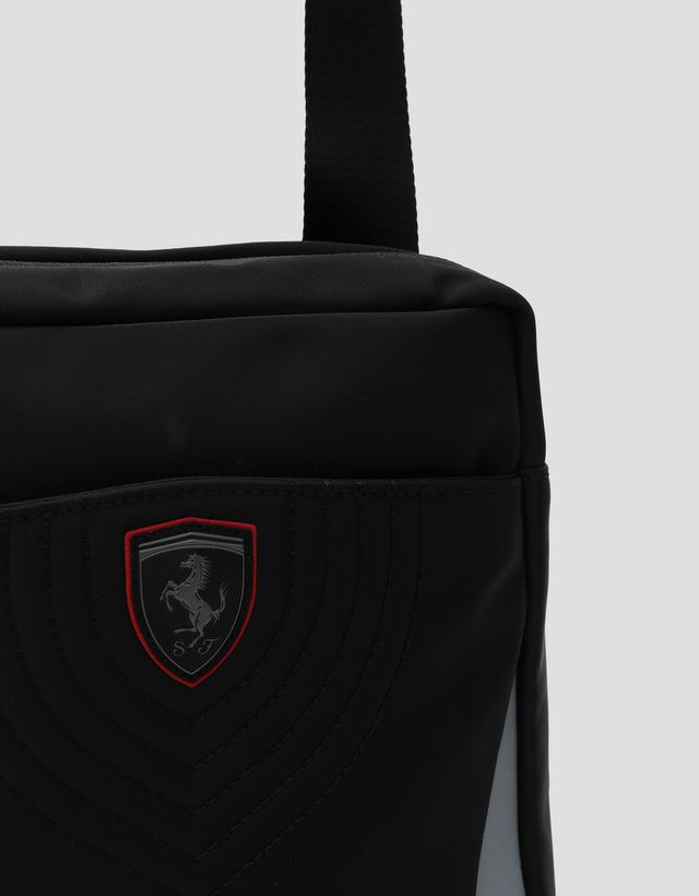 Scuderia Ferrari Online Store - Men's technical fabric crossbody bag with embroidery - Messenger Bags