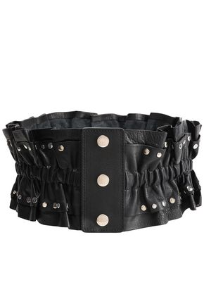IRO Dobrija studded ruffled leather waist belt