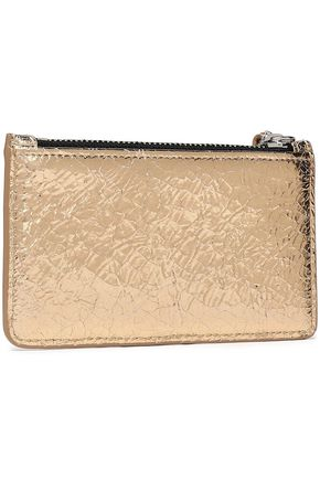 IRO Abie metallic cracked-leather coin purse